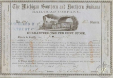 Michigan Southern and Northern Indiana Railroad Co. Сертификат на 42 акции, $4200, 1852 год.