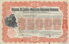Toledo,St.Louis and Western Railroad Co. $5000, 1900 год.