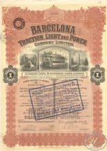 Испания.Barcelona Traction,Light and Power Со.,акция. 1930 год.