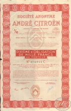 Andre Citroen Societe Anonyme. Акция, 1I10 часть(dixieme de part beneficiaire), 1936 год.