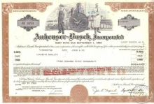 Anheuser Busch Corporated, сертификат на $250000,1980 год.