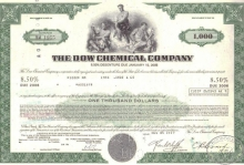 Dow Chemical Co.,сертификат на $1000,1977 год.