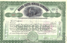 North Butte Mining Co.,сертификат на 10 акций, 1910 год.