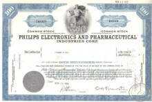Philips Electronics and Pharmaceutical Co.сертификат на 100 акций, 1968 год.