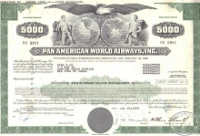 PanAm World Airways Inc.,сертификат на $5000, 1978 год.