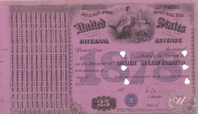United States Internal Revenue (бланк), $25, 1878 год.