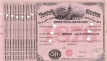 United States Internal Revenue (бланк), $50, 1876 год.