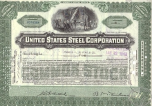 United States Steel Co.,сертификат на 5 акций, 1943 год.