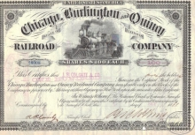Chicago Burlington and Quincy Railroad Co. Сертификат на 100 акций. $10000, 1881 год.