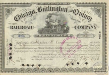 Chicago Burlington and Quincy Railroad Co. Сертификат на 50 акций. $5000, 1892 год.