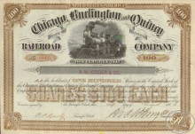 Chicago Burlington and Quincy Railroad Co. Сертификат на 100 акций. $10000, 1886 год.