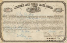 Mobile and Ohio Railroad Co. Сертификат на 100 акций. $10000, 1879 год