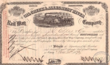 Oil Greek and Allegheny River Rairoad  Co. Cертификат на 100 акций, $5000, 1872 год.