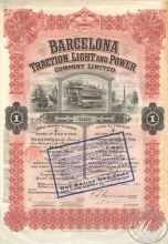 Испания.Barcelona Traction,Light and Power Со.,акция. 1913 год.