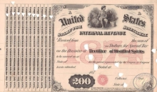 United States Internal Revenue(бланк), $200, 1874 год.