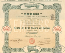 Emress. Material automobile industriel. Акция в 100 франков, 1907 год.
