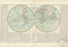 Mappe-Monde. Карта полушарий. Размер: 56х32 см. Издательство Mr.lAbbe Clouet, 1785 год.